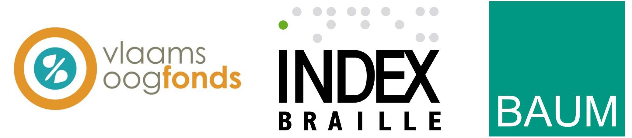 ICEVI Gold sponsors: VlaamsOogfonds, Index Braille, BAUM