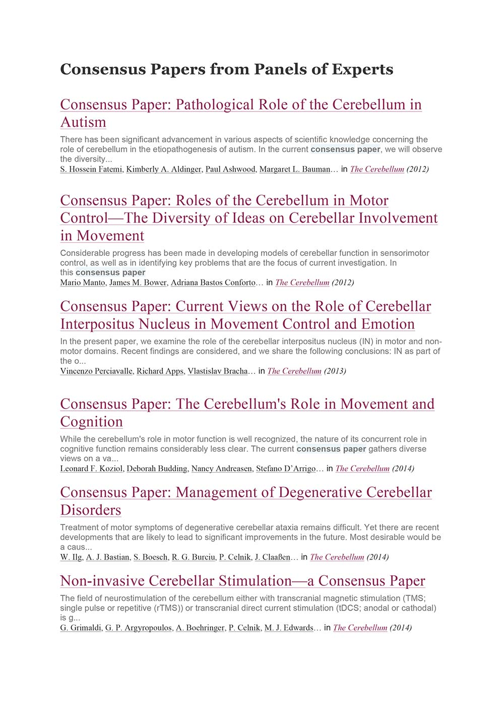 Consensus Papers